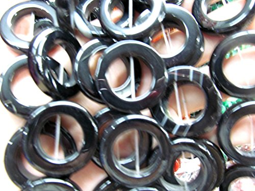 Balck jet agate gemstone Rose Red agate gemstone Round Circle Donut round onyx slice pendant beads focal 30mm Full strand