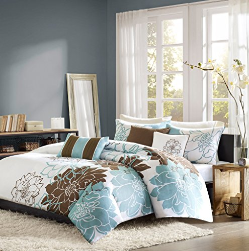 6 Piece Bedding Duvet Cover Set in Reversible Blue Brown Flo