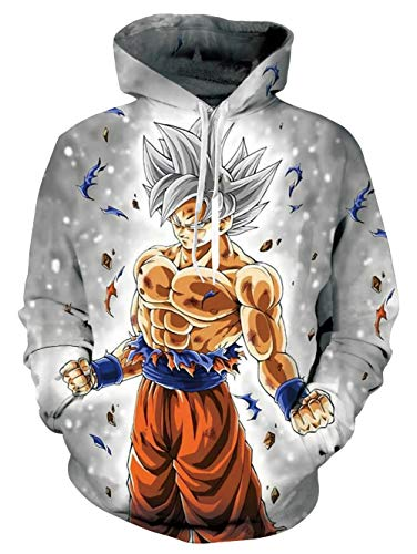 Modest Fun Hoodies Sweatshirts Dragon Ball Grey Saiyan Son Goku Competitive Adjustable Hooded Pullover Jackets for Couple Female Male Casual Holiday Vacation Daily Wear