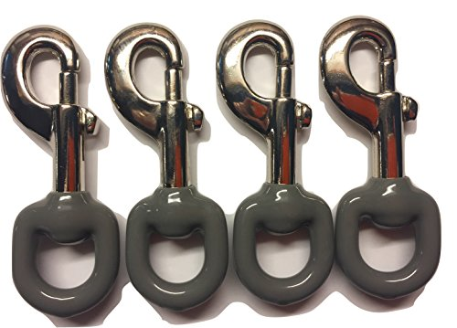 WindStrong® Lot of -4-3.5 Inch Deluxe Commercial Silver Nickel Plated Noise Reducing Rubber Coated Flagpole Clip Snap Hooks ()