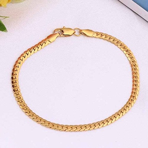 Bracelet maille plate plaqué or
