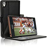 iGadgitz Premium Wallet Flip Black PU Leather Case Cover for Sony Xperia Z3 D6603 with Card Slots + Multi-Angle Viewing Stand + Magnetic Closure + Screen Protector