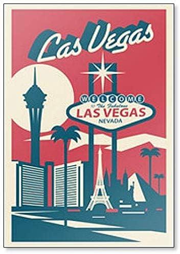Imán para nevera de Las Vegas Nevada Skyline con ilustración de postales: Amazon.es: Hogar