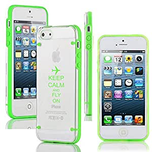 Apple iPhone 5 5s Ultra Thin Transparent Clear Hard TPU Case Cover Keep Calm and Fly On Airplane (Green)