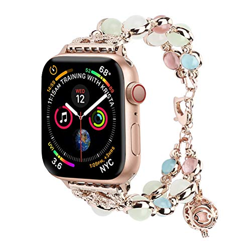 (TILON for Apple Watch Band 42mm 44mm Series 4/3/2/1, Adjustable Wristband Handmade Night Luminous Pearl iWatch Bracelet with Essential Oil/Perfume Storage Pendant for Women/Girls(Rose Gold))