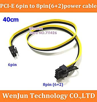 6+2 Cable Length: 40cm, Color: 20PCS Computer Cables Yoton Selling GPU 6 Pin PCIE Male to 8Pin PCI-E Male Power Extention Cable 18AWG Video Card Ribbon Cable 40CM -