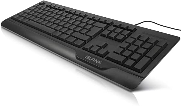 getDigital Blank Keyboard | Black without Keytop Print to improve Blind Touch Typing | EU Layout