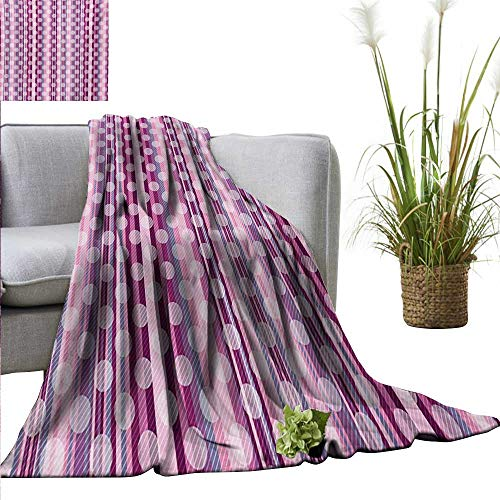 300gsm Sheets 50 (AndyTours Throw Blankets Fleece Blanket,Pink,Stripes Lines with Abstract Round Circles Art Print,Pale Pink Purple Cadet Blue and Dried Rose,300GSM, Super Soft and Warm, Durable 50