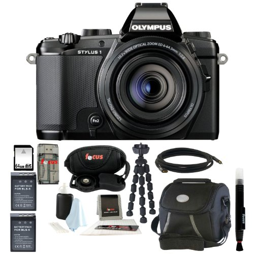 Olympus Stylus 1 12 MP Digital Camera with 10.7x f/2.8 Zoom Lens and 64GB Deluxe Accessory Kit