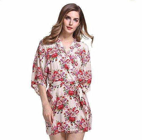 - Ivory Floral Cotton Kimono Robe