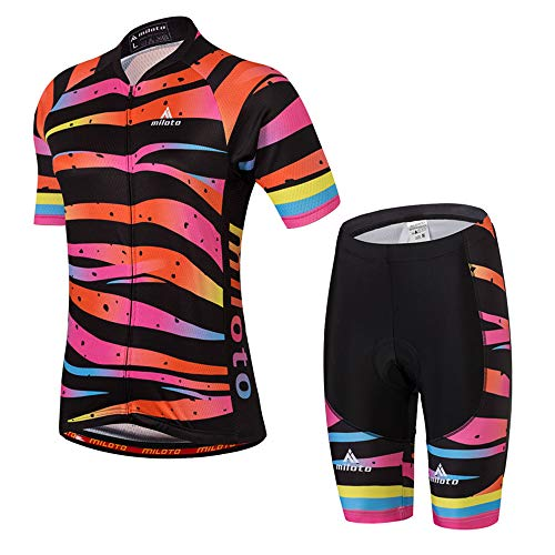 MILOTO Women's Cycling Jersey Reflective Shirt Padded Shorts Set (L, Tiger Stripe)