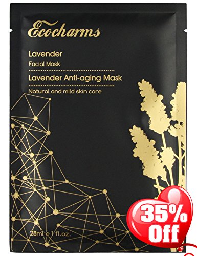 Ecocharms Lavender Facial Sheet Mask 8pcs for Men and Women
