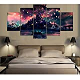 GUAITAI 5Pcs Harry Potter Poster Castle Canvas Wall Paintings Artwork Home Decoration (Colorful / With Frame, 11x15inchx2+11x23inchx2+11x31inchx1)