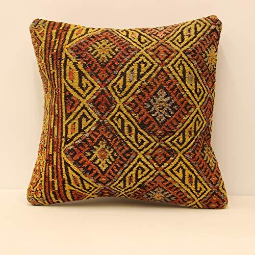 (Ethnic kilim pillow cover 18x18 (45x45 cm) Armchair Pillow Knitting Pillow Lumbar Kilim pillow Throw Pillow cover Kilim Cushion Cover sofa pillow rustic farmhouse)