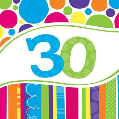 Creative Converting 18 Count Bright and Bold 30th Birthday Lunch Napkins