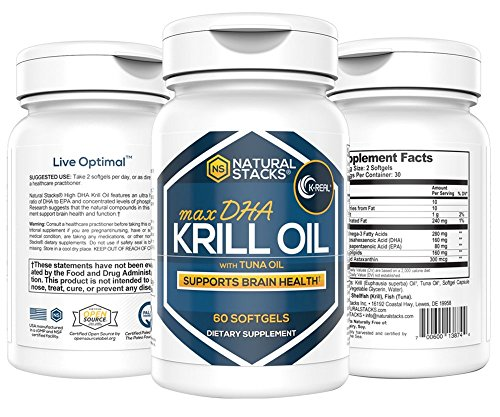 Natural Stacks Cold Pressed Krill Oil - One Bottle - 30-Day Supply - Promotes Heart Health, Relieves Joint Pain, and Improves Brain Function
