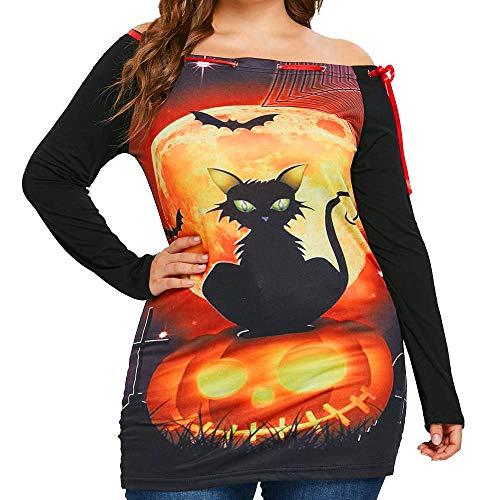 MEANIT Women Sweatshirt, Women Halloween Sweatshirt Party Print Long Sleeve Sweatshirt, Off Shoulder Tops Pullover Shirt Orange ()