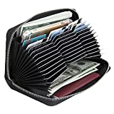 RFID Blocking Credit Card Wallet Case Leather Large Capacity Zipper Purse for Women/Men