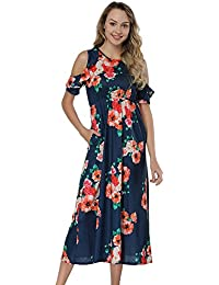 Womens Casual Floral Printed Long Maxi Dress with Pockets(S-5XL)