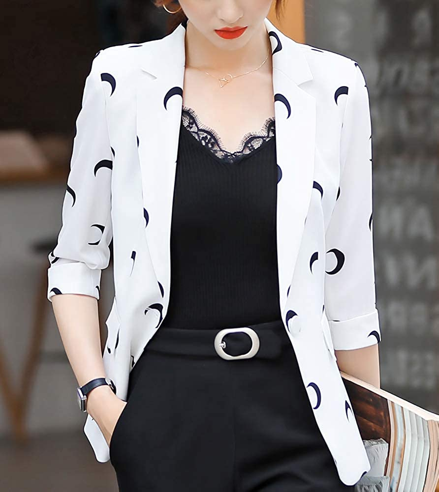Women One Button Shred Lapel Blazer Sharp Shoulder Pad Office Blazer One Button Office Cardigan Casual Plaid Blazers