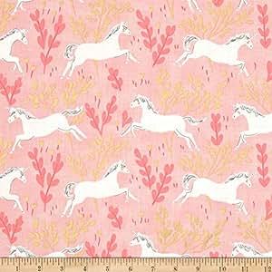 Michael Miller Sarah Jane Magic Metallic Unicorn Forest Blossom Fabric By The Yard