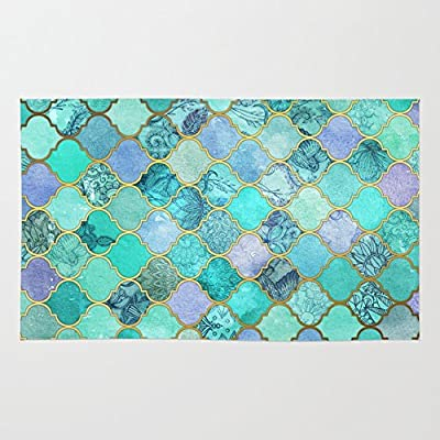 Society6 Cool Jade & Icy Mint Decorative Moroccan Tile Pattern Rug