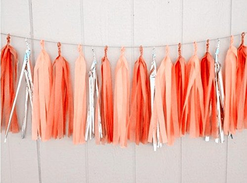 12 X Orange Apricot Silver Tissue Paper Tassels for Party Wedding Gold Garland Bunting Pom Pom