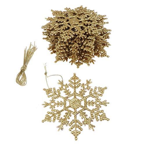STOBOK 24 Piezas de Adornos de Copos de Nieve con Brillo navideño Decoraciones de árboles de Navidad de plástico para la...