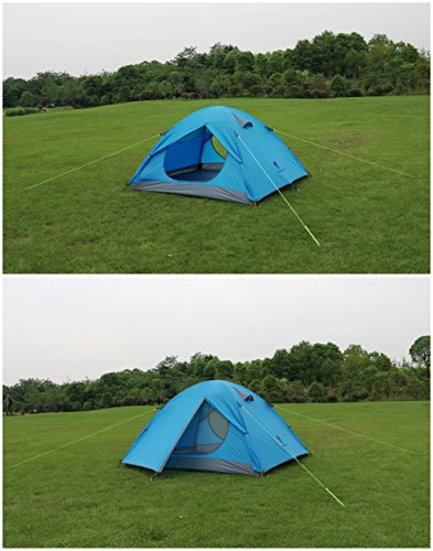 GEERTOP 3-4 Season Tent for Camping 2-3 Person Double Layer Lightweight Backpacking Freestanding Outdoor Hiking Waterproof Backpack Tents - Easy to Set Up 4 【Large Space】Tent size is 83(L) x 71(W) x 47.2(H), with extral vestibule to put the camping gears, luggage; it is a roomy camping travel dome tent with plenty of space for you and a family member or friends; Providing a comfortable and spacious outdoor shelter that comfortably fits 2 man or 3 person 【Waterproof Tent】Geertop 3 season tent - 210D PU5000 mm waterproof Oxford cloth ripstop floor + 210T PU3000 mm anti-tear plaid polyester tent fly while double-sided adhesive waterproof strip seam, ensure water does not make its way into the inside of tent , offer a comfortable camping experience 【Excellent Ventilation 】The camping inner tent made of 210T breathable polyester + high density fine nylon mesh with 2 doors + 2 ventilation windows + 2 vestibule, allowing for greater airflow throughout the tent, avoiding bothered by stuffiness