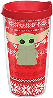 Tervis Star Wars-The Mandalorian Christmas Made in USA Double Walled Insulated Tumbler, 16oz, Clear