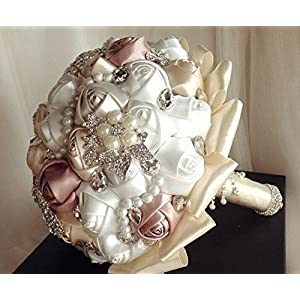 "Made to order Brooch Bouquet ""Pearlie"" Wedding Bridal Flowers Satin Roses Bride Bridesmaids 95"