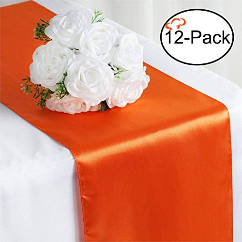 Tiger Chef 12-Pack Orange 12 x 108 inches Long Satin Table Runner for Wedding, Table Runners fit Rectange and Round Table Decorations for Birthday Parties, Banquets, Graduations, Engagements (Orange Table Runner)