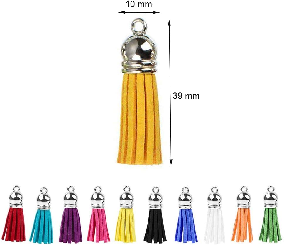 Anyasen keyrings for Crafts 150 pcs Key Chains Set Key Chain Rings Split Keyrings with Link Chain Screw Eye Pins Open Jump Rings Swivel Hooks and Keyring Tassel Pendants for Crafting Jewelry Making