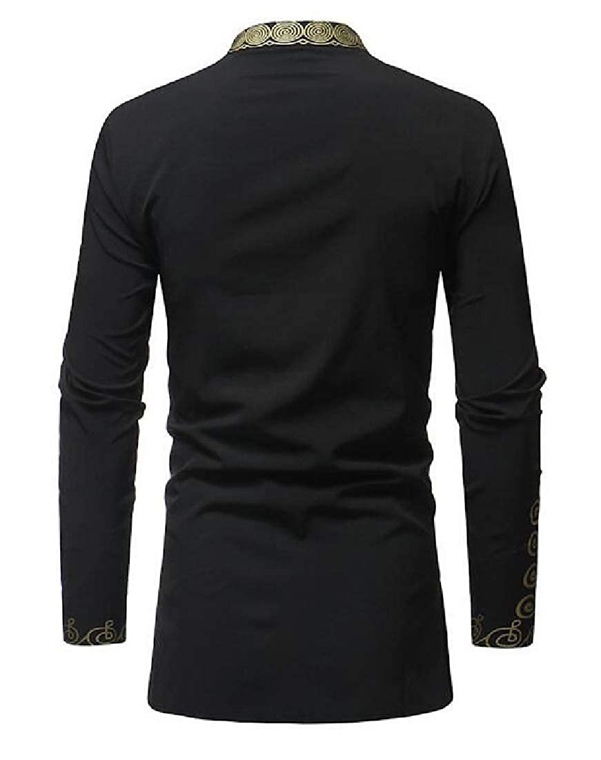 Winwinus Mens Premium African Dashiki Long Sleeve Floral Fit Western Shirt