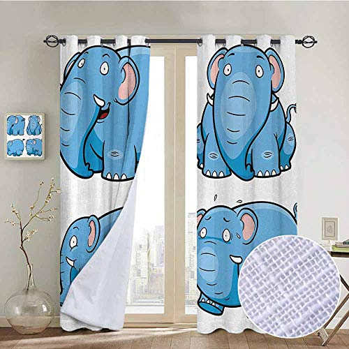 """NUOMANAN Curtains Animal,Kids Nursery Boys Girls Baby Room Clumsy Cartoon Cute Elephant Image Print,Baby Blue and White,Treatments Thermal Insulated Light Blocking Drapes Back for Bedroom 52""""x72"""""""