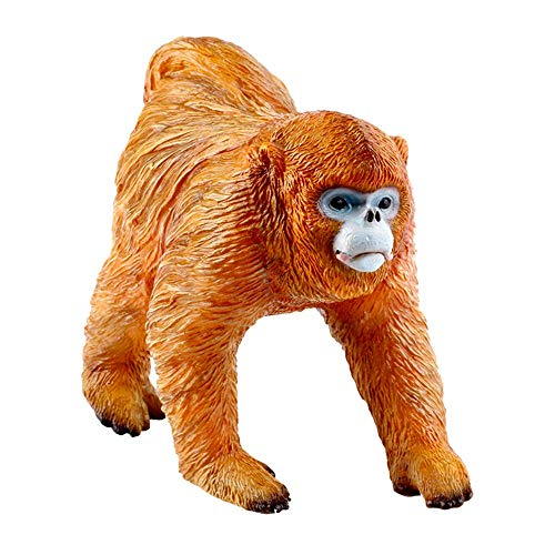 RECUR Male Golden Snub-Nosed Monkey Figurine Realistic Hand Painted Toy Model Safari Animals Action Figures - Wild Zoo Animals Educational Toys for Ages 3 and Up (Male Monkey)