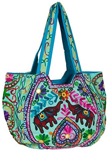 Tribe Azure Elephant Women Large Shoulder Bag Tote Purse Handbag Everyday Fashion Casual School Market Laptop Books Embroidered Boho Summer Beach Comfortable (Turquoise)