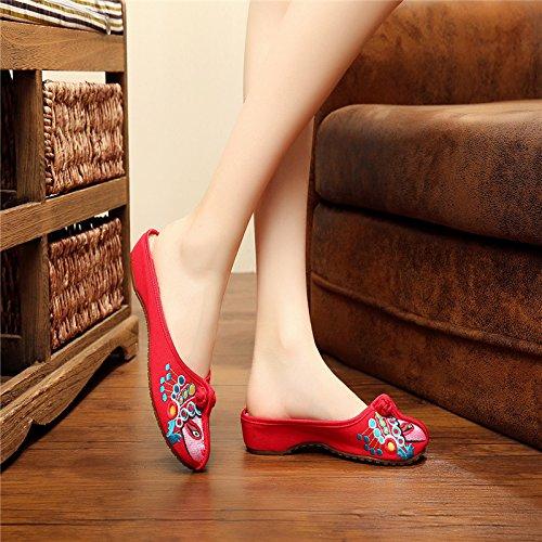 KPHY-Zapatos De Verano De Beijing Antiguo Con Una Baja Plana Folk Style Shoes Slipper Cuñas Treinta Y Nueve Forty-one