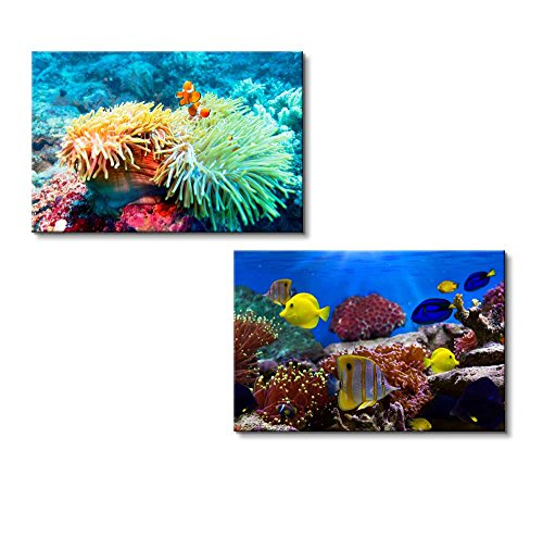 (Canvas Wall Art - Coral Reef and Tropical Fish Under The Sea | Modern Home Decor 2 Panel Canvas Prints Giclee Printing & Ready to Hang - 16