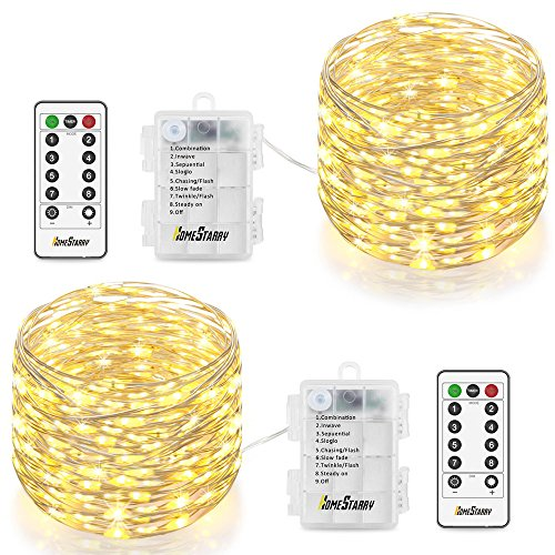 Homestarry HS-AMZ-VC-WW-01 Fairy Lights 2 Pack Operated Waterproof 8 Modes 66 LED 16.4 ft String Copper Wire Firefly Remote Control Decor Christmas Warm White (Tree Christmas Cordless Lights)
