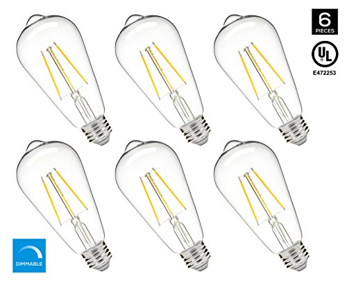 Series Gold 500 (Hyperikon 5W Dimmable ST64 LED Vintage Filament Bulb, 500 lumen, 2700K, E26 Base, UL, Pack of 6)