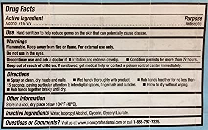 Amazon.com : Clorox 02174 Bleach-Free Hand Sanitizer Spray: 2-Pack of 2 oz Bottles - kills Norovirus (Feline Calicivirus). Bundled with magnet.