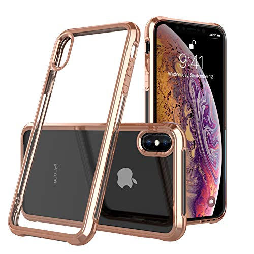 ULAK Clear Slim Soft TPU Case for iPhone Xs Max 2018,Flexible Shock-Absorption Protective Bumper Cover [Support Wireless Charging] Compatible with 6.5 inch iPhone Xs Max (Gold Frame)