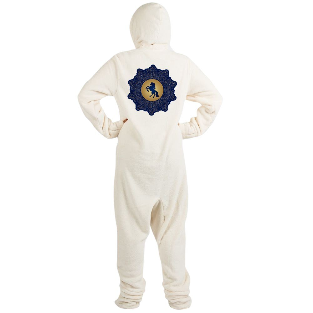 Truly Teague Adult Footed Pajamas Horse On Dark Blue Field - Creme, Extra Small