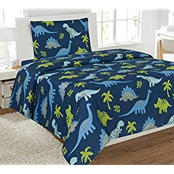 WPM 3 Piece TWIN Sheet Set Kids/Teens Dinosaur Blue Jungle Animal Print Design Luxury Sheets New