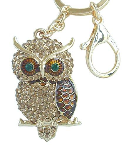 Sindary Unique Animal Bird Owl KeyChain Pendant Rhinestone Crystal Art Deco KZ03502 (Gold Tone Topaz)