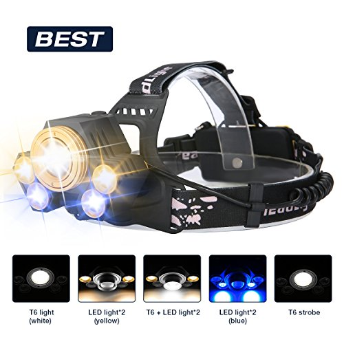 Super Bright 5 LED 8000 Lumens Zoomable Headlight - 5 Modes XML T6 LED Waterproof Head torch with Rechargeable Batteries for Outdoor Hiking Camping Hunting Fishing(3 colour light) (Led Yellow Headlamp)