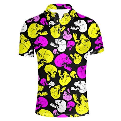 HUGS IDEA Skull Print Men's Summer Short Sleeves Fashion Slim Fit Golf Polos Shirt T-Shirt -