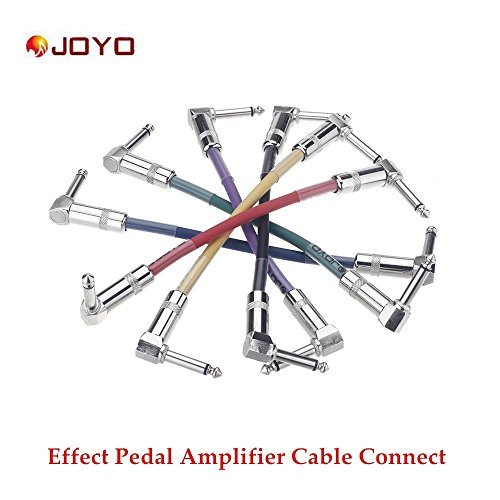 Professional Pack of six different colors, 0.65ft (20cm) Guitar - instrument Patch Cables (Right Angle) 6.3mm to 6.3mm - Can be used for Guitar Effects Pedals, Instruments, and More by JOYO