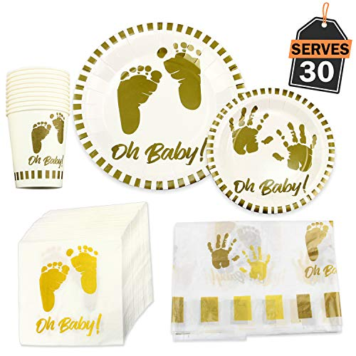 141 Piece Baby Shower Party Supplies Set, Including Plates, Cups, Napkins and Tablecloth, Serves -